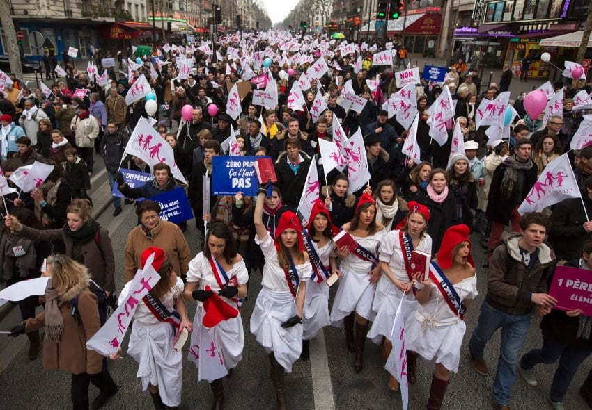Tens of thousands march in Paris against gay marriage bill