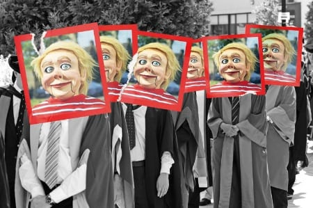 queue-of-university-graduates-with-puppet-heads-photos-pasted-over-face_450