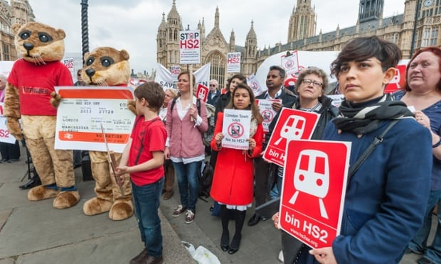 Stop HS2 Protesters Rally at Parliament before Commons Debate