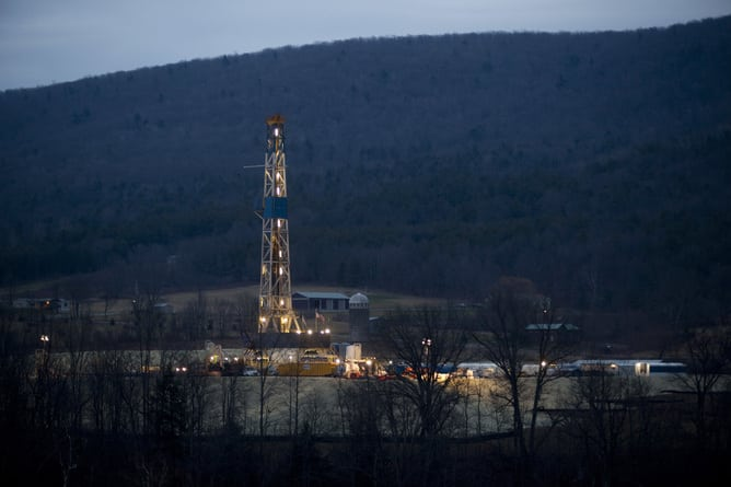 A natural gas well is drilled near Canton, in Bradford County, Pennsylvania