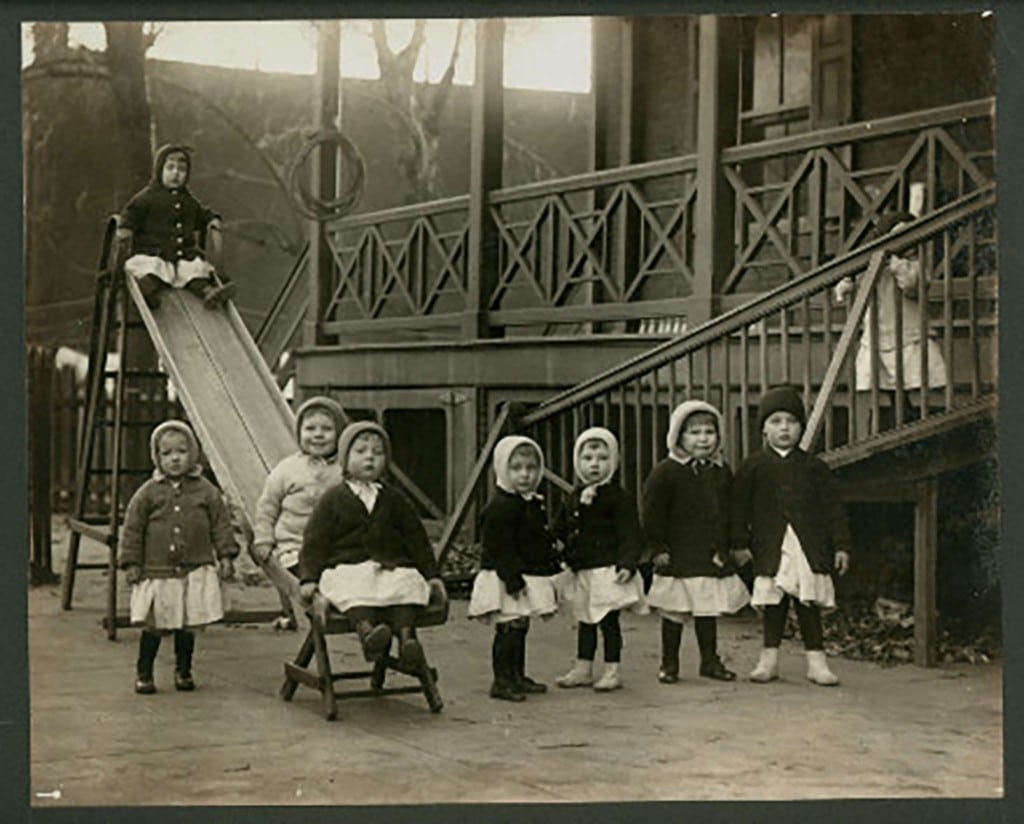 Children playing at the Philadelphia Home for Infants, photograph (1900), Children's Aid Society of Pennsylvania records (Collection 3026), The Historical Society of Pennsylvania.